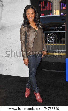 """LOS ANGELES, CA - APRIL 9, 2013: Laila Ali, daughter of Muhammad Ali, at the Los Angeles premiere of """"42: The True Story of An American Legend"""" at the Chinese Theatre, Hollywood.  - stock photo"""
