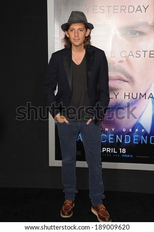 "LOS ANGELES, CA - APRIL 10, 2014: Lukas Haas at the Los Angeles premiere of his movie ""Transcendence"" at the Regency Village Theatre, Westwood."