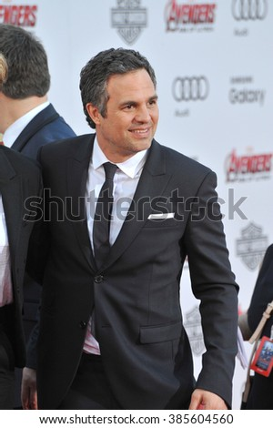 """LOS ANGELES, CA - APRIL 13, 2015: Mark Ruffalo at the world premiere of his movie """"Avengers: Age of Ultron"""" at the Dolby Theatre, Hollywood. - stock photo"""