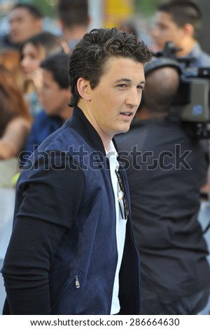 LOS ANGELES, CA - APRIL 12, 2015: Miles Teller at the 2015 MTV Movie Awards at the Nokia Theatre LA Live.