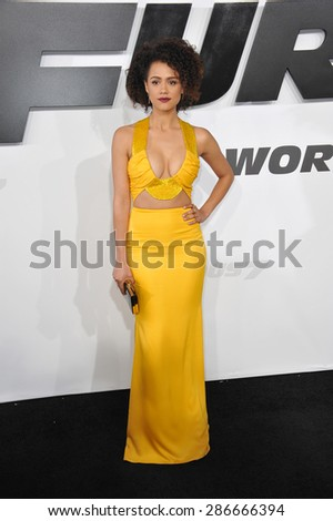 "LOS ANGELES, CA - APRIL 1, 2015: Nathalie Emmanuel at the world premiere of her movie ""Furious 7"" at the TCL Chinese Theatre, Hollywood. April 1, 2015  Los Angeles, CA  - stock photo"