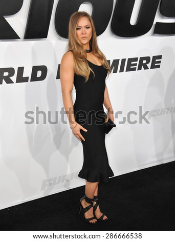 """LOS ANGELES, CA - APRIL 1, 2015: Ronda Rousey at the world premiere of her movie """"Furious 7"""" at the TCL Chinese Theatre, Hollywood. April 1, 2015  Los Angeles, CA  - stock photo"""