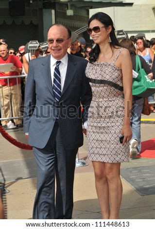 LOS ANGELES, CA - APRIL 21, 2009: Rupert Murdoch & wife Wendi Deng at hand & footprint ceremony for Hugh Jackman Grauman's Chinese Theatre, Hollywood.