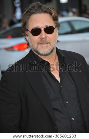 "LOS ANGELES, CA - APRIL 16, 2015: Russell Crowe at the Los Angeles premiere of his movie ""The Water Diviner"" at the TCL Chinese Theatre, Hollywood."