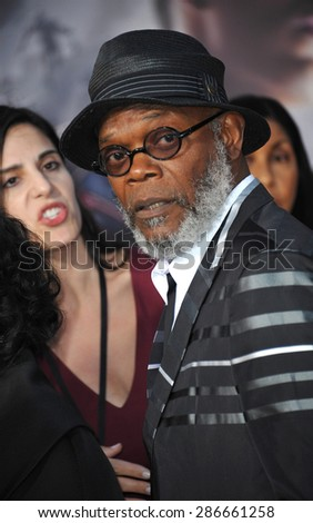 """LOS ANGELES, CA - APRIL 13, 2015: Samuel L. Jackson at the world premiere of his movie """"Avengers: Age of Ultron"""" at the Dolby Theatre, Hollywood.  - stock photo"""