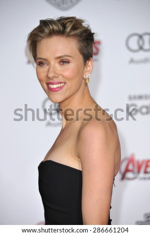 "LOS ANGELES, CA - APRIL 13, 2015: Scarlett Johansson at the world premiere of her movie ""Avengers: Age of Ultron"" at the Dolby Theatre, Hollywood.  - stock photo"