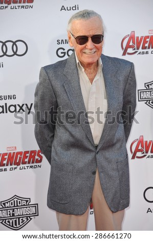 """LOS ANGELES, CA - APRIL 13, 2015: Stan Lee at the world premiere of """"Avengers: Age of Ultron"""" at the Dolby Theatre, Hollywood.  - stock photo"""
