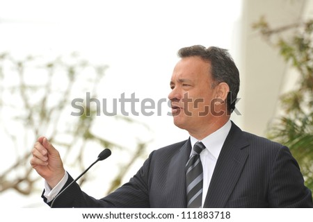 LOS ANGELES, CA - APRIL 14, 2009: Tom Hanks at Hollywood Walk of Fame star ceremony honoring the late George Harrison.