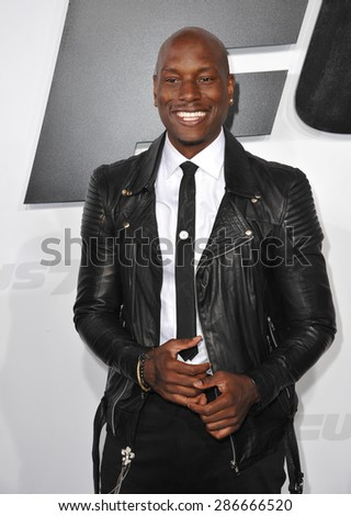 """LOS ANGELES, CA - APRIL 1, 2015: Tyrese Gibson at the world premiere of his movie """"Furious 7"""" at the TCL Chinese Theatre, Hollywood. April 1, 2015  Los Angeles, CA  - stock photo"""