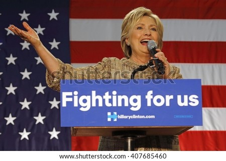 LOS ANGELES, CA - APRIL 16, 2016: US Democratic Presidential candidate Hillary Clinton campaigns at Southwest College, Los Angeles, CA - stock photo