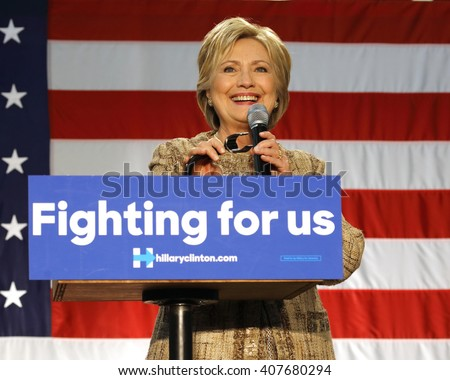 LOS ANGELES, CA - APRIL 16, 2016: US Democratic Presidential candidate Hillary Clinton smiles while campaigning at Southwest College, Los Angeles, CA - stock photo