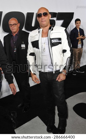 """LOS ANGELES, CA - APRIL 1, 2015: Vin Diesel at the world premiere of his movie """"Furious 7"""" at the TCL Chinese Theatre, Hollywood. April 1, 2015  Los Angeles, CA  - stock photo"""