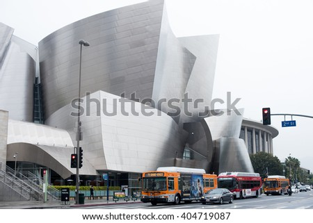 LOS ANGELES, CA - APRIL 9, 2016: Walt Disney Concert Hall in Downtown of Los Angeles on April 9, 2016.