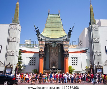 LOS ANGELES, CA - AUG 11:  Historic Grauman's Chinese Theater in Los Angeles, CA on Aug. 11, 2012.  Opened in 1922 this Hollywood landmark is on the Hollywood Walk of Fame and attracts many visitors. - stock photo