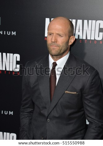 "LOS ANGELES, CA. August 22, 2016: Actor Jason Statham at the Los Angeles premiere of ""Mechanic: Resurrection"" at the Arclight Theatre, Hollywood."
