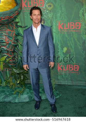 "LOS ANGELES, CA. August 14, 2016: Actor Matthew McConaughey at the world premiere of ""Kubo and the Two Strings"" at AMC Universal City Walk."