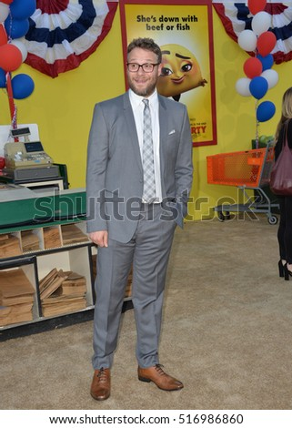 "LOS ANGELES, CA. August 9, 2016: Actor Seth Rogen at the world premiere of ""Sausage Party"" at the Regency Village Theatre, Westwood."