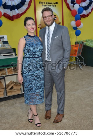"LOS ANGELES, CA. August 9, 2016: Actor Seth Rogen & wife Lauren Miller at the world premiere of ""Sausage Party"" at the Regency Village Theatre, Westwood."