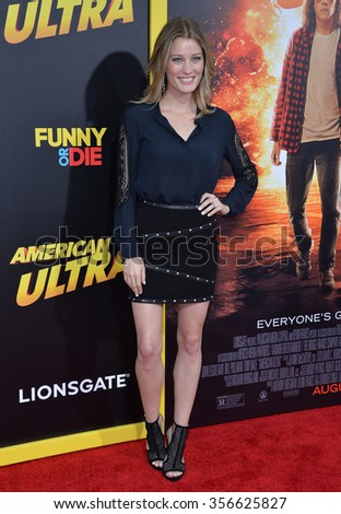 "LOS ANGELES, CA - AUGUST 18, 2015: Actress Ashley Hinshaw at the world premiere of ""American Ultra"" at The Ace Hotel Downtown."