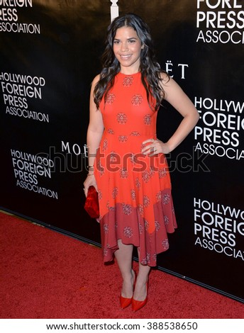 LOS ANGELES, CA - AUGUST 13, 2015: America Ferrera at the Hollywood Foreign Press Association's Grants Banquet at the Beverly Wilshire Hotel.