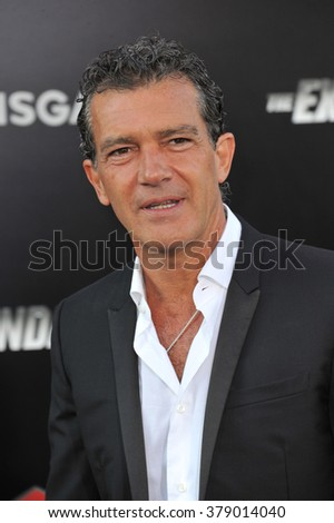 "LOS ANGELES, CA - AUGUST 11, 2014: Antonio Banderas at the Los Angeles premiere of his movie ""The Expendables 3"" at the TCL Chinese Theatre, Hollywood."