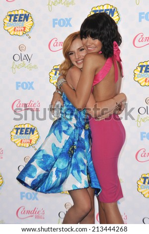 LOS ANGELES, CA - AUGUST 10, 2014: Bella Thorne & Zendaya Coleman at the 2014 Teen Choice Awards at the Shrine Auditorium.  - stock photo