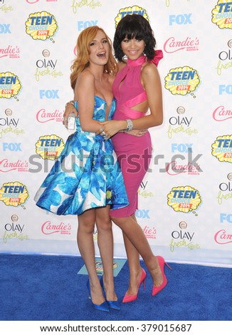 LOS ANGELES, CA - AUGUST 10, 2014: Bella Thorne & Zendaya Coleman at the 2014 Teen Choice Awards at the Shrine Auditorium.