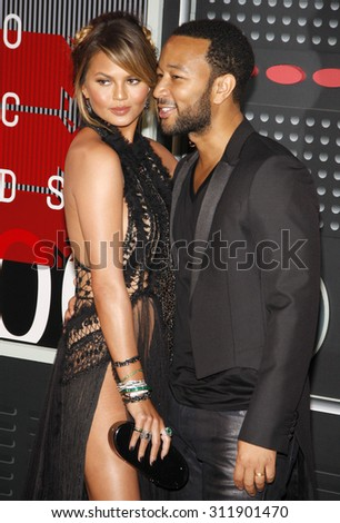 LOS ANGELES, CA - AUGUST 30, 2015: Chrissy Teigen and John Legend at the 2015 MTV Video Music Awards held at the Microsoft Theater in Los Angeles, USA on August 30, 2015.