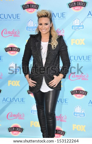 LOS ANGELES, CA - AUGUST 11, 2013: Demi Lovato at the 2013 Teen Choice Awards at the Gibson Amphitheatre, Universal City, Hollywood.  - stock photo