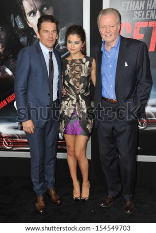 "LOS ANGELES, CA - AUGUST 26, 2013: Ethan Hawke (left), Selena Gomez & Jon Voight at the premiere of their movie ""Getaway"" at the Regency Village Theatre, Westwood."