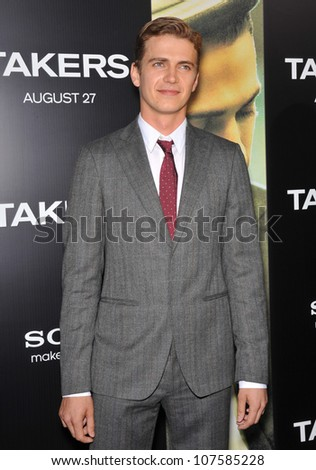 """LOS ANGELES, CA - AUGUST 4, 2010: Hayden Christensen at the world premiere of his new movie """"Takers"""" at the Cinerama Dome, Hollywood. August 4, 2010  Los Angeles, CA - stock photo"""