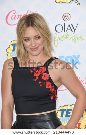 LOS ANGELES, CA - AUGUST 10, 2014: Hilary Duff at the 2014 Teen Choice Awards at the Shrine Auditorium.