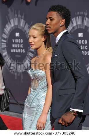 LOS ANGELES, CA - AUGUST 24, 2014: Iggy Azalea & Nick Young at the 2014 MTV Video Music Awards at the Forum, Los Angeles.