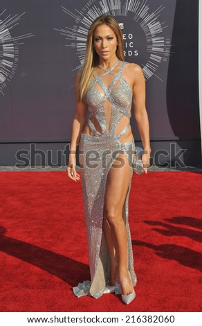 LOS ANGELES, CA - AUGUST 24, 2014: Jennifer Lopez at the 2014 MTV Video Music Awards at the Forum, Los Angeles.  - stock photo