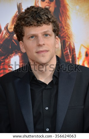 "LOS ANGELES, CA - AUGUST 18, 2015: Jesse Eisenberg at the world premiere of his movie ""American Ultra"" at The Ace Hotel Downtown."