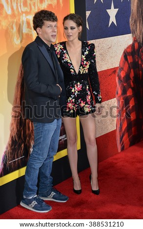 """LOS ANGELES, CA - AUGUST 18, 2015: Jesse Eisenberg & Kristen Stewart at the world premiere of their movie """"American Ultra"""" at The Ace Hotel Downtown. - stock photo"""