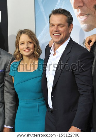 "LOS ANGELES, CA - AUGUST 7, 2013: Jodie Foster & Matt Damon at the world premiere of their movie ""Elysium"" at the Regency Village Theatre, Westwood.  - stock photo"