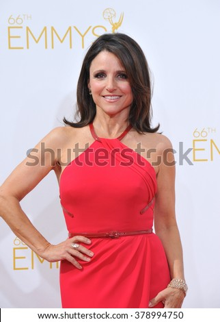 LOS ANGELES, CA - AUGUST 25, 2014: Julia Louis-Dreyfus at the 66th Primetime Emmy Awards at the Nokia Theatre L.A. Live downtown Los Angeles.