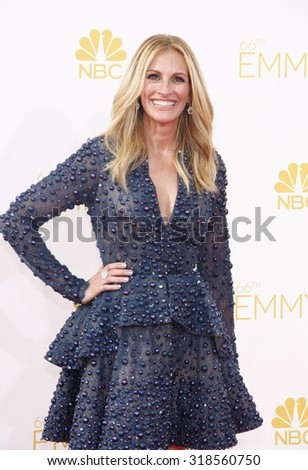 LOS ANGELES, CA - AUGUST 25, 2014: Julia Roberts at the 66th Annual Primetime Emmy Awards held at the Nokia Theatre L.A. Live in Los Angeles, USA on August 25, 2014. - stock photo