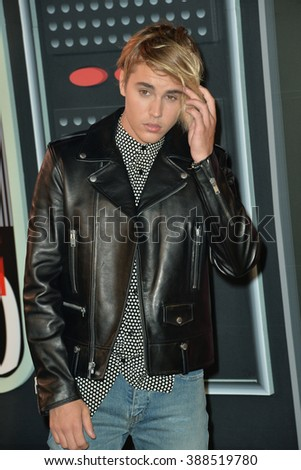 LOS ANGELES, CA - AUGUST 30, 2015: Justin Bieber at the 2015 MTV Video Music Awards at the Microsoft Theatre LA Live. - stock photo