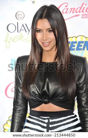LOS ANGELES, CA - AUGUST 10, 2014: Kim Kardashian at the 2014 Teen Choice Awards at the Shrine Auditorium.  - stock photo