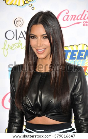 LOS ANGELES, CA - AUGUST 10, 2014: Kim Kardashian at the 2014 Teen Choice Awards at the Shrine Auditorium.