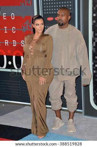 LOS ANGELES, CA - AUGUST 30, 2015: Kim Kardashian & Kanye West at the 2015 MTV Video Music Awards at the Microsoft Theatre LA Live. - stock photo