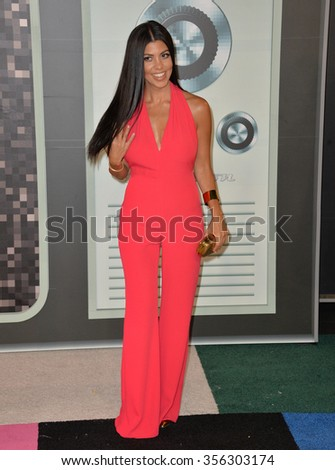 LOS ANGELES, CA - AUGUST 30, 2015: Kourtney Kardashian at the 2015 MTV Video Music Awards at the Microsoft Theatre LA Live.  - stock photo