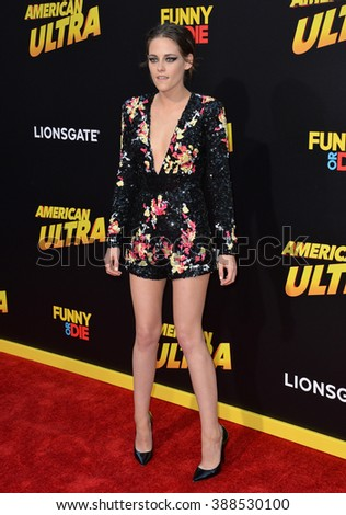 """LOS ANGELES, CA - AUGUST 18, 2015: Kristen Stewart at the world premiere of her movie """"American Ultra"""" at The Ace Hotel Downtown. - stock photo"""