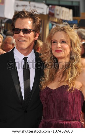 LOS ANGELES, CA - AUGUST 29, 2010: Kyra Sedgwick & Kevin Bacon at the 2010 Primetime Emmy Awards at the Nokia Theatre L.A. Live in downtown Los Angeles.