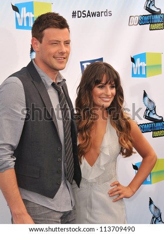 LOS ANGELES, CA - AUGUST 19, 2012: Lea Michele & Cory Monteith at the 2012 Do Something Awards at Barker Hangar. Santa Monica Airport.