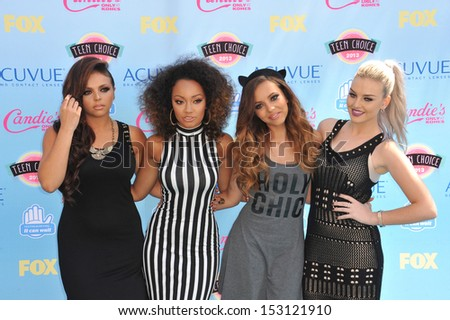 LOS ANGELES, CA - AUGUST 11, 2013: Little Mix - Perrie Edwards, Jesy Nelson, Leigh-Anne Pinnock & Jade Thirlwall - at the 2013 Teen Choice Awards at the Gibson Amphitheatre, Universal City.  - stock photo