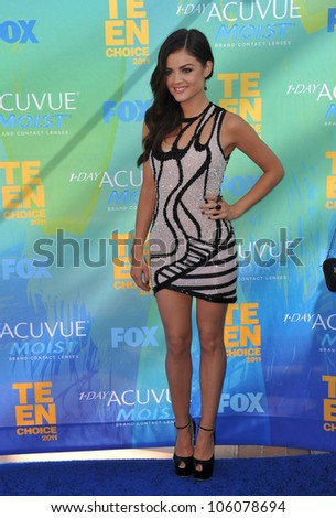 LOS ANGELES, CA - AUGUST 7, 2011: Lucy Hale at the 2011 Teen Choice Awards at the Gibson Amphitheatre, Universal Studios, Hollywood. August 7, 2011  Los Angeles, CA