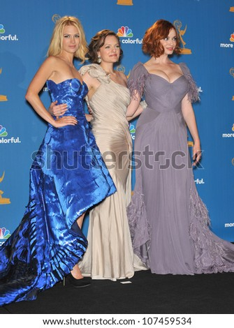 LOS ANGELES, CA - AUGUST 29, 2010: Mad Men stars January Jones (left), Elisabeth Moss & Christina Hendricks at the 2010 Primetime Emmy Awards at the Nokia Theatre L.A. Live in downtown Los Angeles. - stock photo